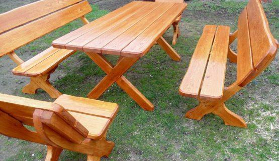 Meble ogrodowe Biesiadne. Stół, ławki, krzesła