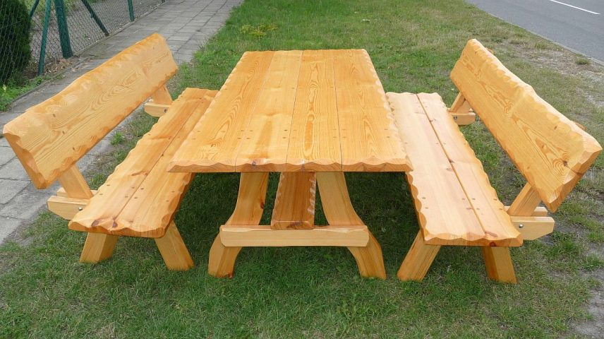 2 Meble Ogrodowe Drewniane Biesiadne 6 Osób 170 Cm