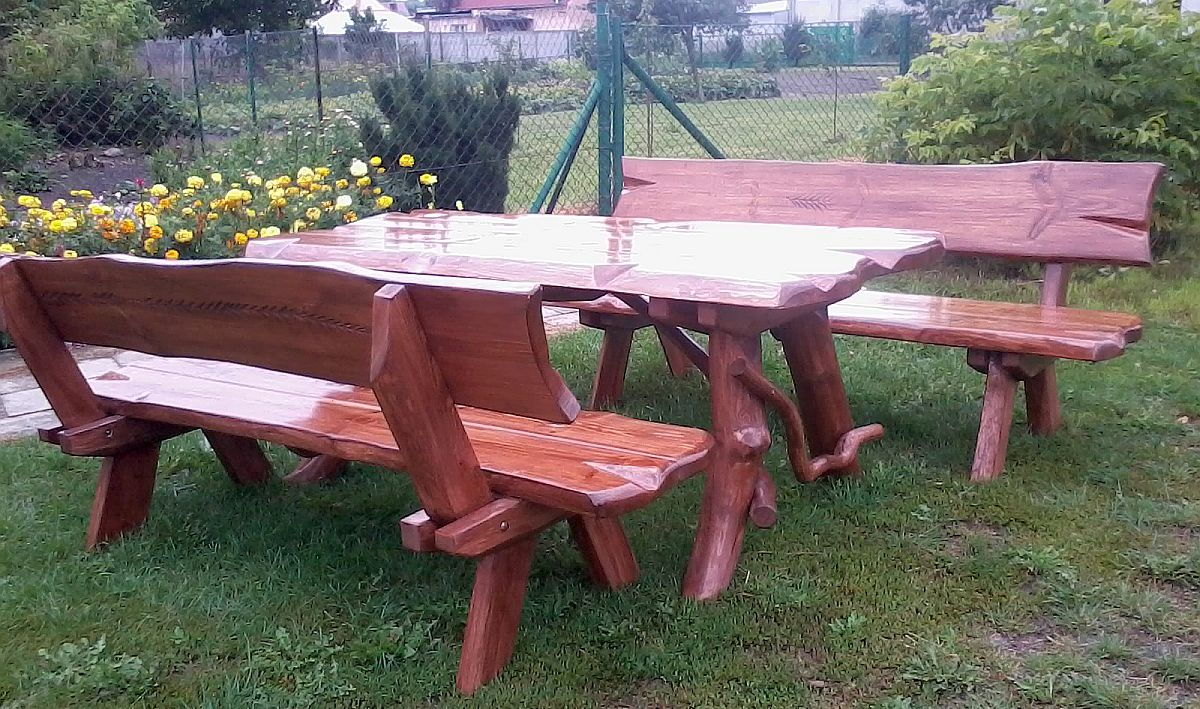 1 Meble Ogrodowe Natura Z Drewna 6 Osób 170 Cm